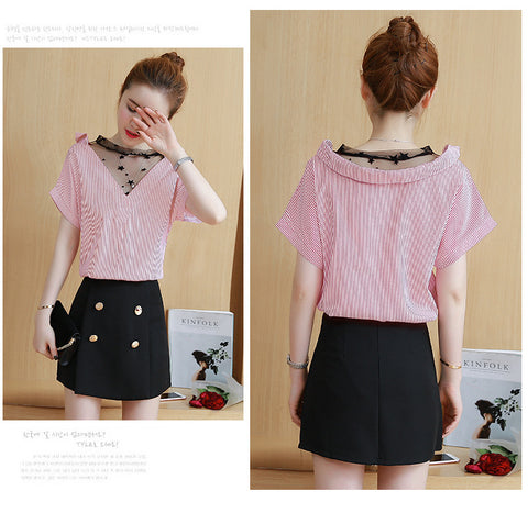 Net Neck Collar Top
