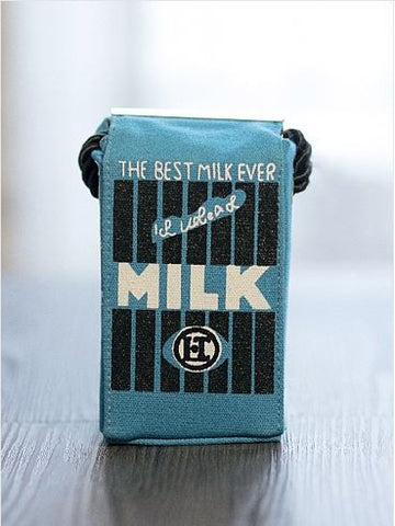 Milk Mini Canvas Shoulder Bag Blue Creative Bags- Available online on Buyvel