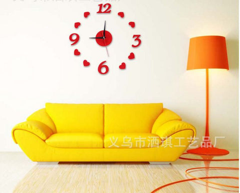 DIY Acrylic 3D Love Wall Clock Home Decor- Available online on Buyvel