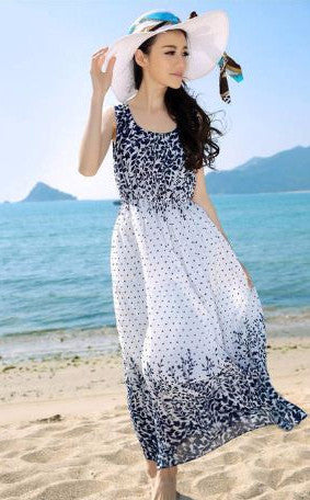 White Vintage Bohemian Gown Ferns print Dresses- Available online on Buyvel