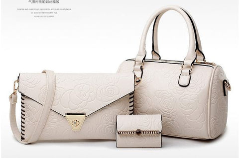 Engrave Floral 3 Set Of Bag White Set Bags- Available online on Buyvel