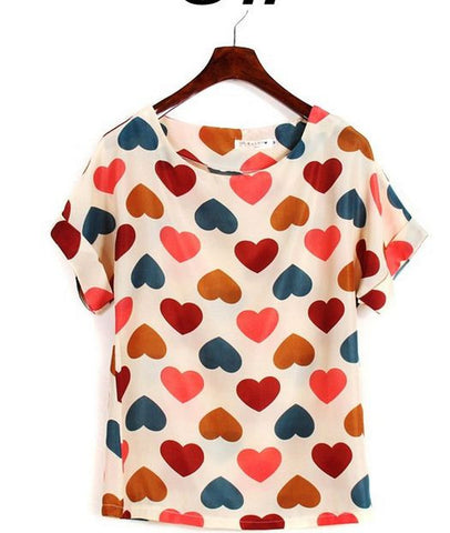 Heart Pattern New Ladies' Top Tops, Tees & Shirts- Available online on Buyvel