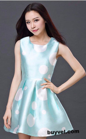 Blue Skater Dress in Polka 2016 fresh collection Dresses- Available online on Buyvel