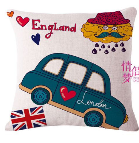 Highlighter London Car Bus umbrella printed linen cushion cover