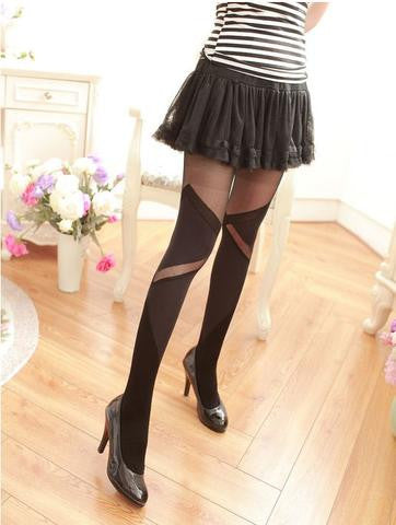 Women Pantyhose Black Zig Zag Stockings Leggings & Jeggings- Available online on Buyvel