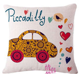 London Car Bus umbrella printed Highlighter cushion cover 45cmX45cm Cushions & Covers- Available online on Buyvel