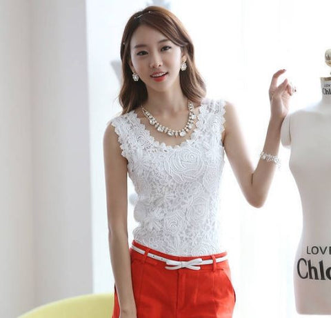 Sleeveless Lacy Designer White/ Black Top Tops, Tees & Shirts- Available online on Buyvel