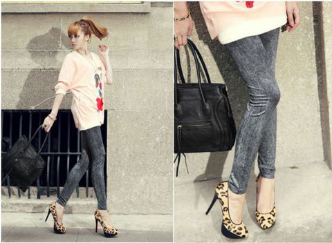 Denim Look Stretchable Jeggings - Buyvel