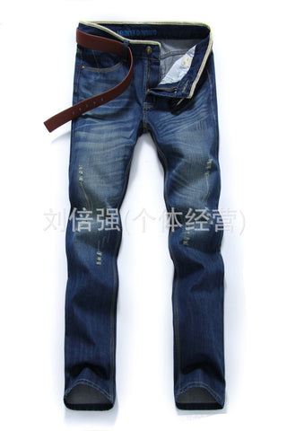 Washed triple stitch jute bordered inner blue print less distress jeans Jeans- Available online on Buyvel