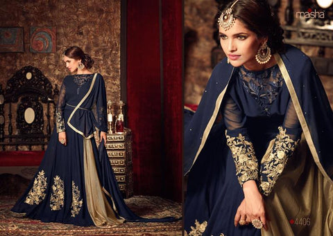 Blue Georgette Floral Embroidered Long Suit