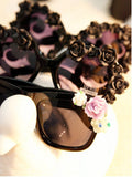 Fashion Oversized Girls Retro Floral Flower UV Glasses With Case Sunglasses- Available online on Buyvel