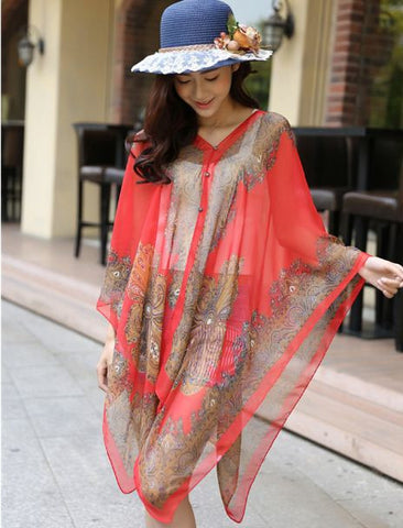 Chiffon Multicolor 3 in 1 shrug Dresses- Available online on Buyvel
