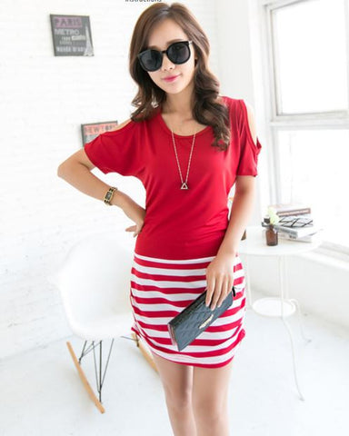 Cropped Shoulder Short Dress Cum Top Red Tops, Tees & Shirts- Available online on Buyvel