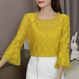 Fashion Flare Sleeve Shirts Slim O-Neck Tops