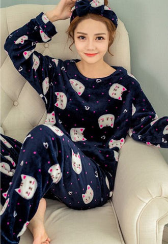 Winter Night Suit Two piece Top With Pyjamas Blue Cat Winter Wear- Available online on Buyvel