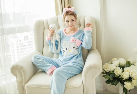 Winter Night Suit Two piece Top With Pyjamas Blue Hello Kitty Winter Wear- Available online on Buyvel