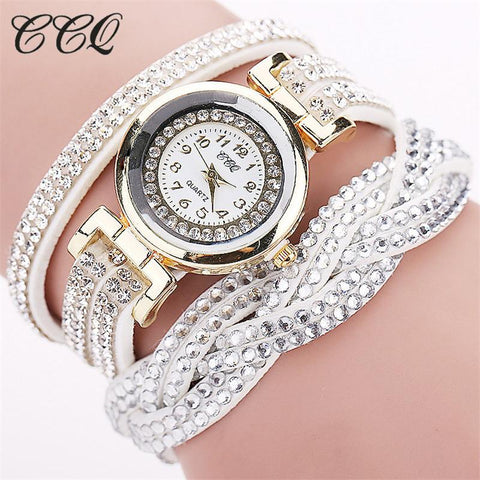 Casual Quartz Women Rhinestone Braided Leather Bracelet Watch