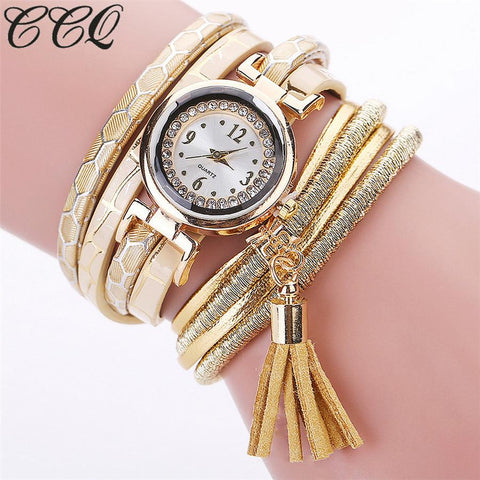 CCQ Brand Fashion Women Bracelet Watch Multilayer