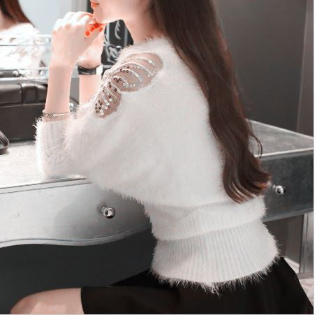 Butterfly Cutwork Hairy Sweater Winter Wear- Available online on Buyvel