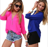 Euro Americano Casual Long- Sleeved Shirt Pink Tops, Tees & Shirts- Available online on Buyvel