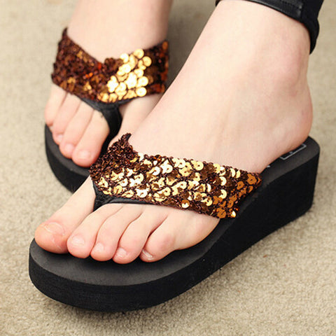 Golden Sequin Plataform Sliper