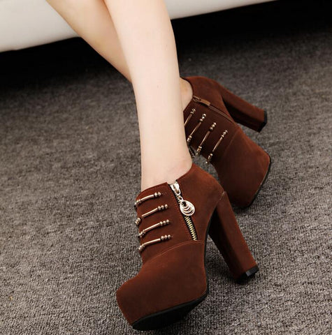 Zipper High Heel Ankle Boots