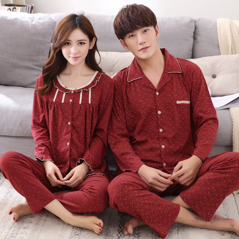 acba816405 ... 100% Cotton Couple Polka Dot Night Suit Set Turn-down Collar hot sale  online  Amart Fashion Women Girl Sleeveless Nightgown Set Pajamas Sleepwear  ...