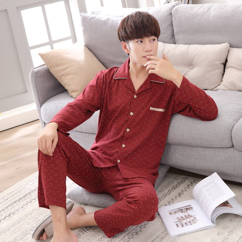 4097855f78 ... Sleepwear Pyjama Homme Lounge  100% Cotton Couple Polka Dot Night Suit  Set Turn-down Collar hot sale online ...