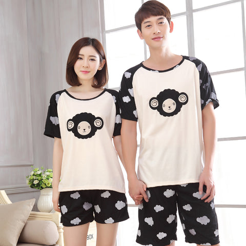 Couple Night Suit Cotton Clothing Short Tops Set  Sleepwear