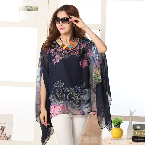 Flower Pattern Multicolor Designer Kaftan Tops, Tees & Shirts- Available online on Buyvel