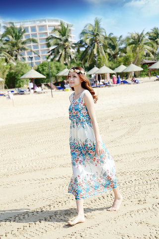 Blooming Flowers Delight Beach Boho Gown - Buyvel