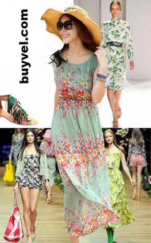 Flower printed summer beachwear gown Dresses- Available online on Buyvel