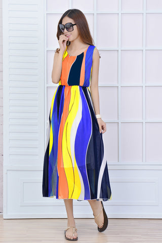 Colorburst Long Bohemian Gown Dresses- Available online on Buyvel