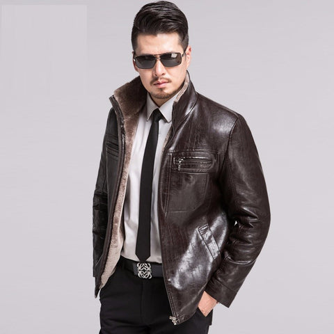 Brand Fashion Winter Jacket Men Winter Leather Jackets Warm Winter Men Leather Jackets Winter Wear- Buyvel