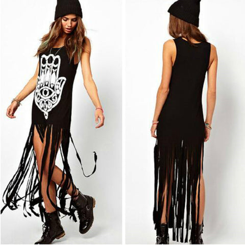 Black Tassels Printed Cotton Blended Fringe Long Dress Dresses- Buyvel