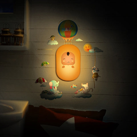 LED Night light Baby Cartoon 3D DIY Wall Sticker Lamp Sensor Controller Electronic toys- Buyvel