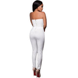 Off-Shoulder White Gold Embellished Strapless Bodycon Jumpsuit - Available online on Buyvel