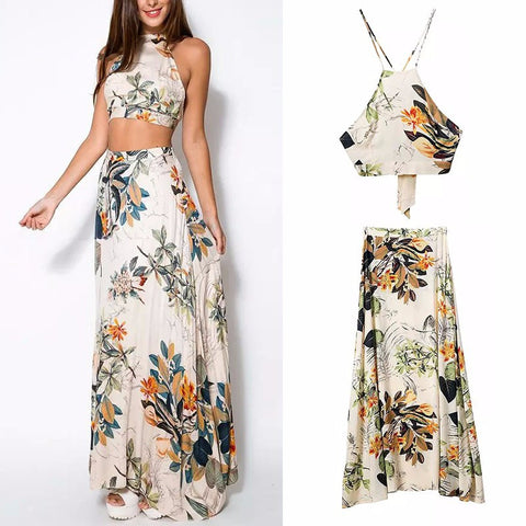 Summer Dress Fashion Sexy Cross Backless Halterneck Floral Print Dresses- Buyvel