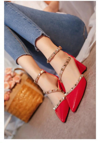 Rivets Comfortable Square High Heels