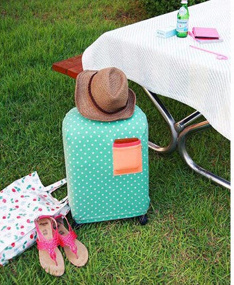 Polka Dots Trolley Covers, Trolley Protector, Luggage Cover, Travel Luggage Cover, Luggage Protective Cover - Aqua Trolley Cover- Available online on Buyvel
