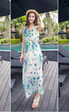 Cute Butterfly Print Green Long Bohemian Gown Dresses- Available online on Buyvel