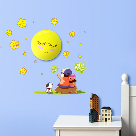 LED Night light Moon Cartoon 3D DIY Wall Sticker Lamp Sensor Controller Electronic toys- Buyvel