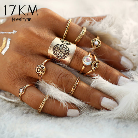 9 pcs/set Vintage Silver Color Ring Sets Antique Midi Finger Rings