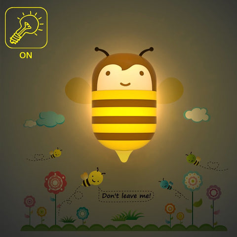 LED Night light Bee/Bug Cartoon 3D DIY Wall Sticker Lamp Sensor Controller Electronic toys- Buyvel