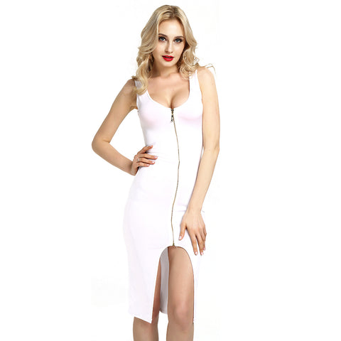 Plus Size Women Zippers Knee-length Dress