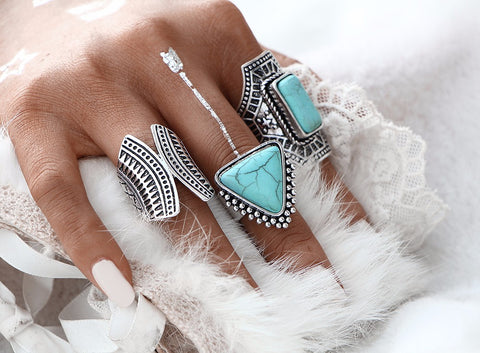 3pcs/Set Boho Vintage Punk Silver Color Stone Midi Finger Rings For Women