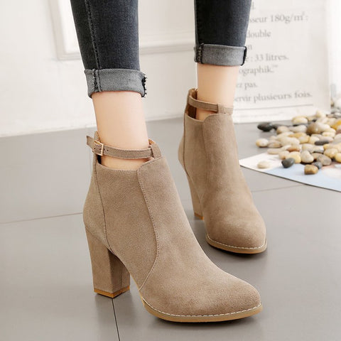 Solid European High Heel Martin Boots