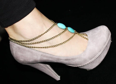 Trendy Anklet three layered With Aqua Bead Bracelets & Anklets- Available online on Buyvel