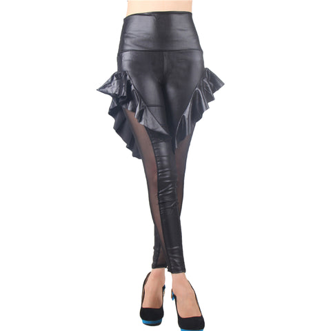 Pleated Flowers Leather Legging