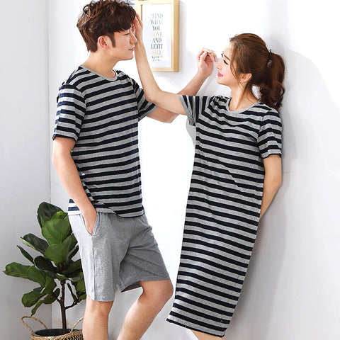 High Quality Summer 100%Cotton Striped Couple Night dress COuple Nightsuit Night suit Nightsuits